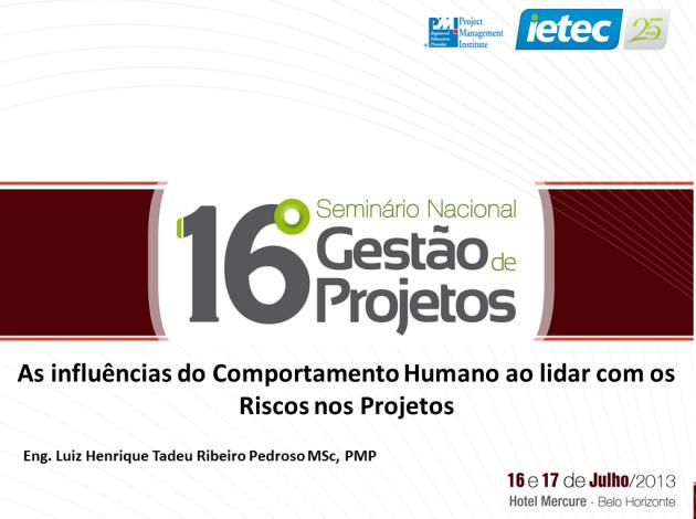 16º Seminário Nacional de Gestão de Projetos - 2013